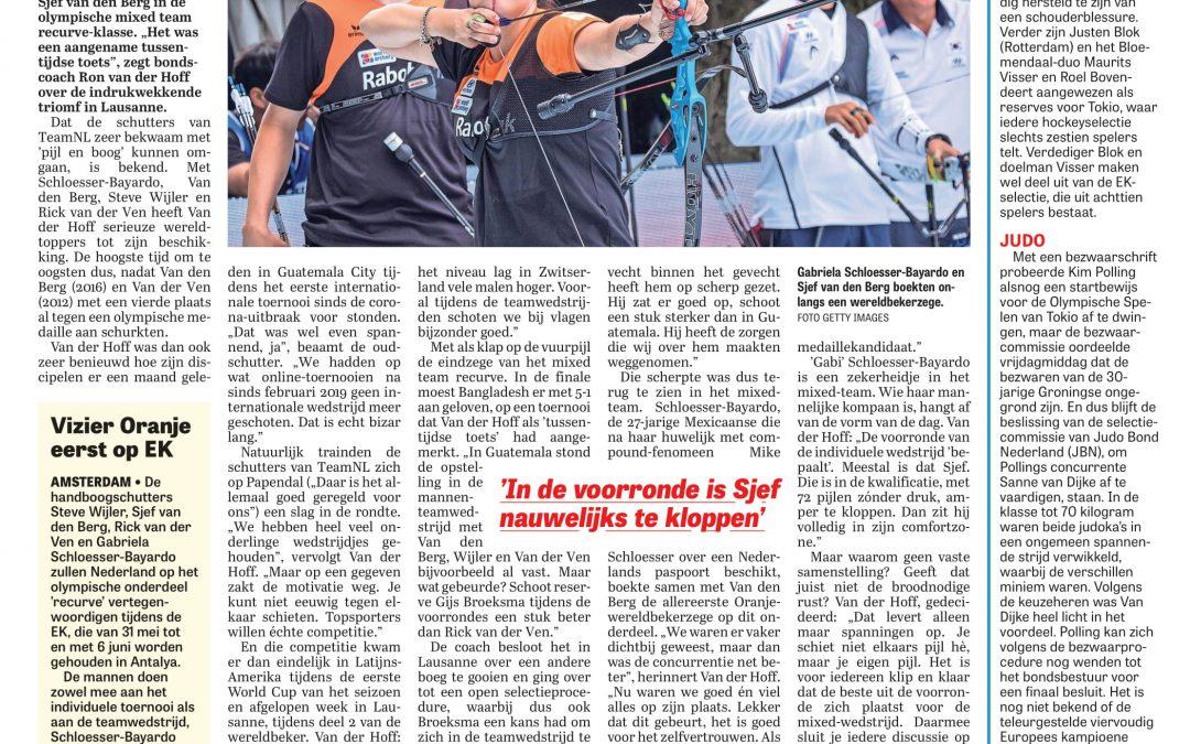 Artikel Telegraaf Gaby en Sjef